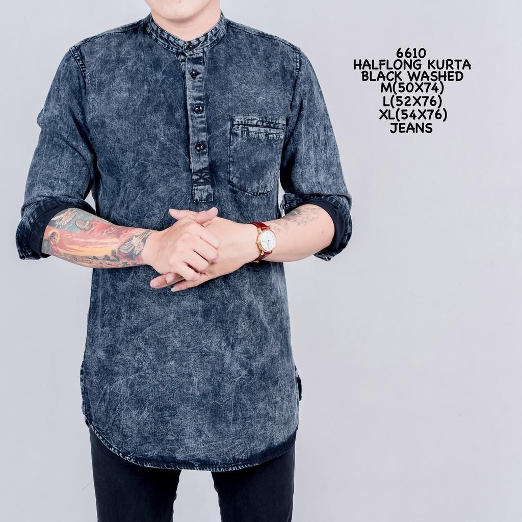 Best Seller!!! 6610 Gamis Pria Warna Hitam Jeans/baju Koko Cowok/busana Muslim Laki/halflong Kurta Black Washed By Gilang.official.