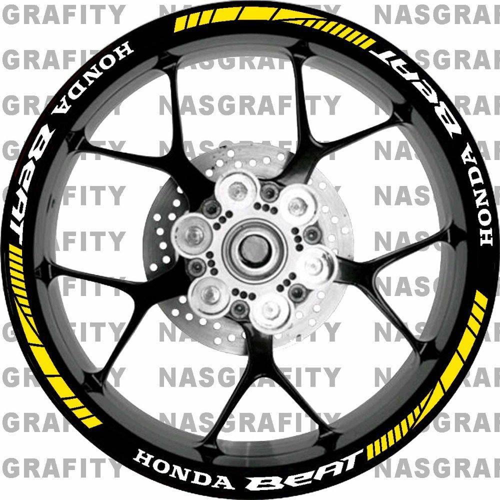 Ngemall - Stiker Velg 3 Racing Honda Beat All - Kuning - Ngemall