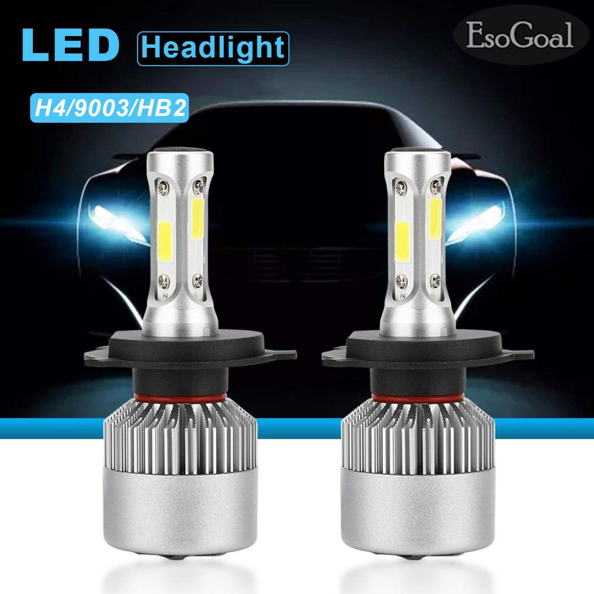 EsoGoal lampu led depan mobil 2 Pcs Automobile 8000LM LED Headlight Lamp Car Front Light 360 Beam Bulb Auto Head Light H4/HB2/9003