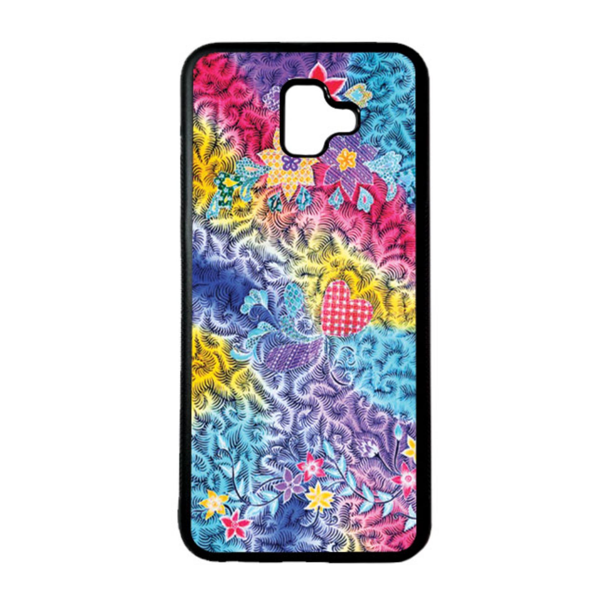 HEAVENCASE Casing Case Samsung J6 PLUS Case Softcase Hitam Motif Batik Bunga 05