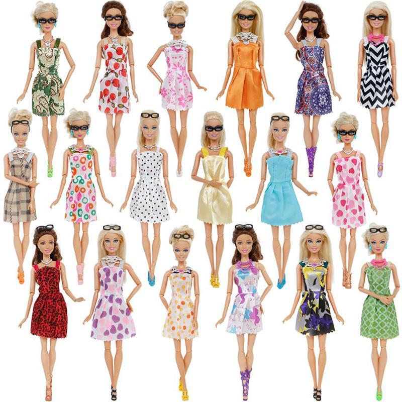【Hpacces】 [[Cá Tuyết} {Miễn Phí Vận Chuyển] 20 Sản Phẩm/Bộ Thời Trang Pha Trộn Phong Cách Phụ Kiện Búp Bê = 10x Mix Thời Trang Dễ Thương + 4x Kính 6x Cổ Áo Quần Áo Cho Búp Bê Barbie Quà Tặng Tốt Nhất Cho Bé Gái Với Giá Sốc