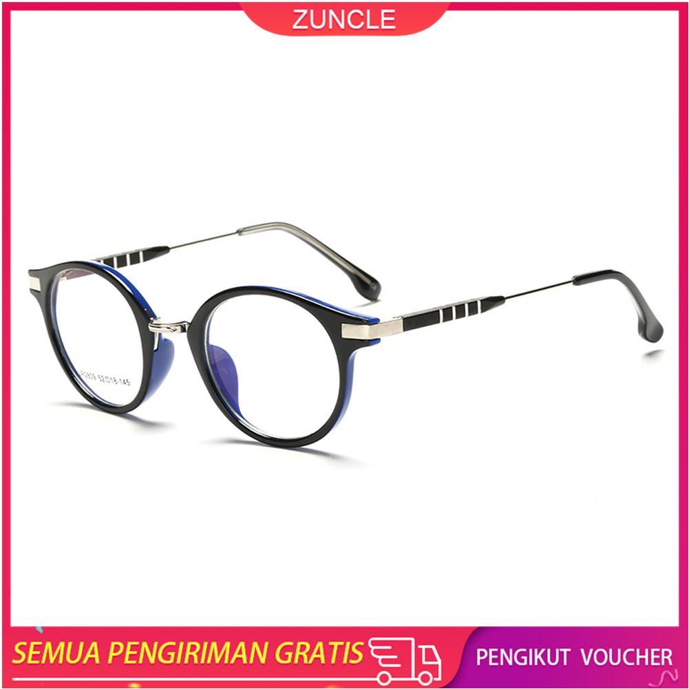 ZUNCLE Anti-UV Radiasi Perlindungan TR90 Bahan Unisex Kacamata Optik Kacamata (Hitam + Biru)