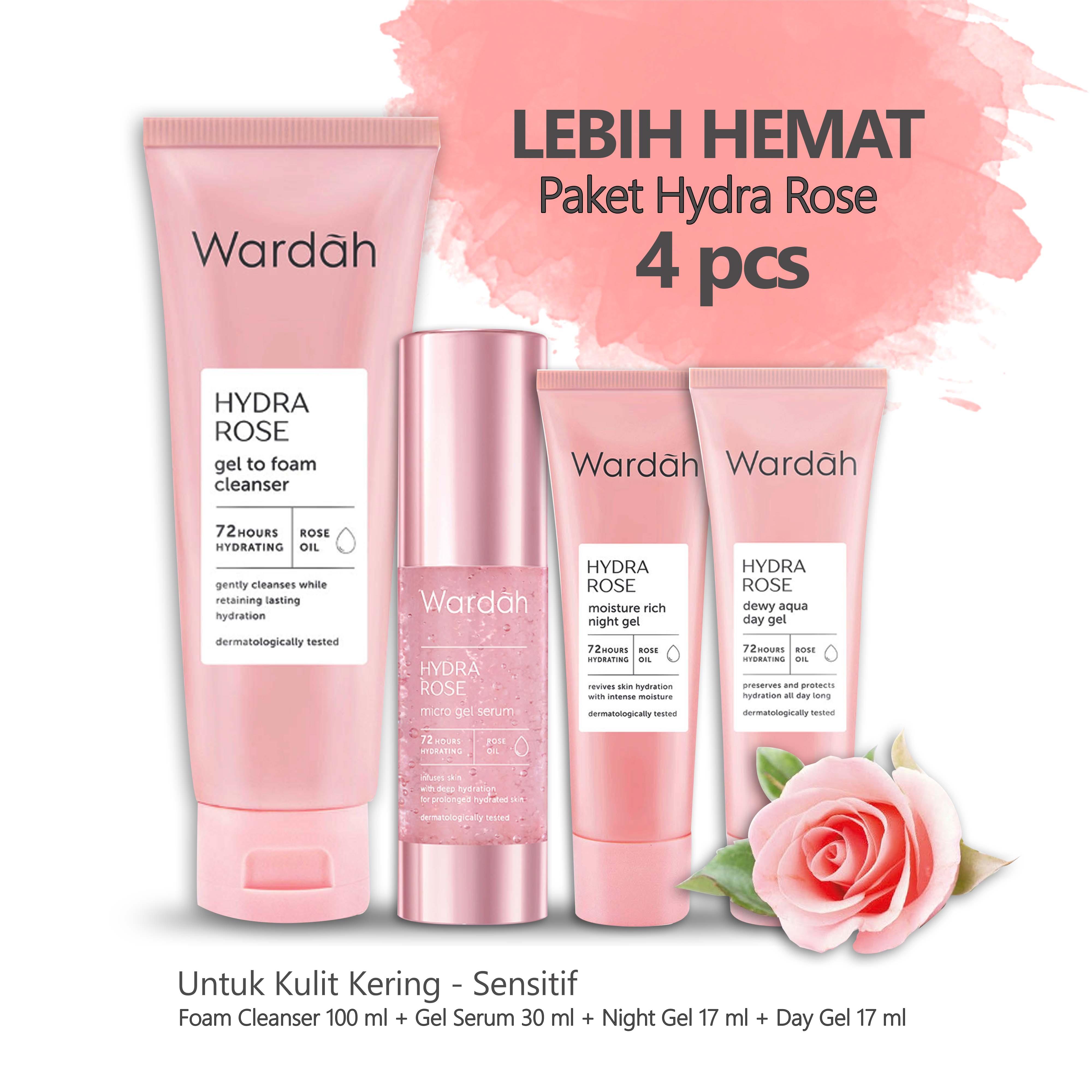 Paket Spesial Wardah Hydra Rose 4 Pcs Foam Cleanser 100 Ml Gel Serum 30 Ml Night Gel 17 Ml Day Gel 17 Ml Kemasan Kecil Lazada Indonesia