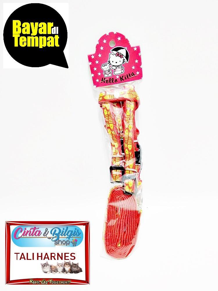 Tali Harnes Tuntun Kucing Anjing Hewan Motif - Warna Merah By Cinta & Bilqis Shop.