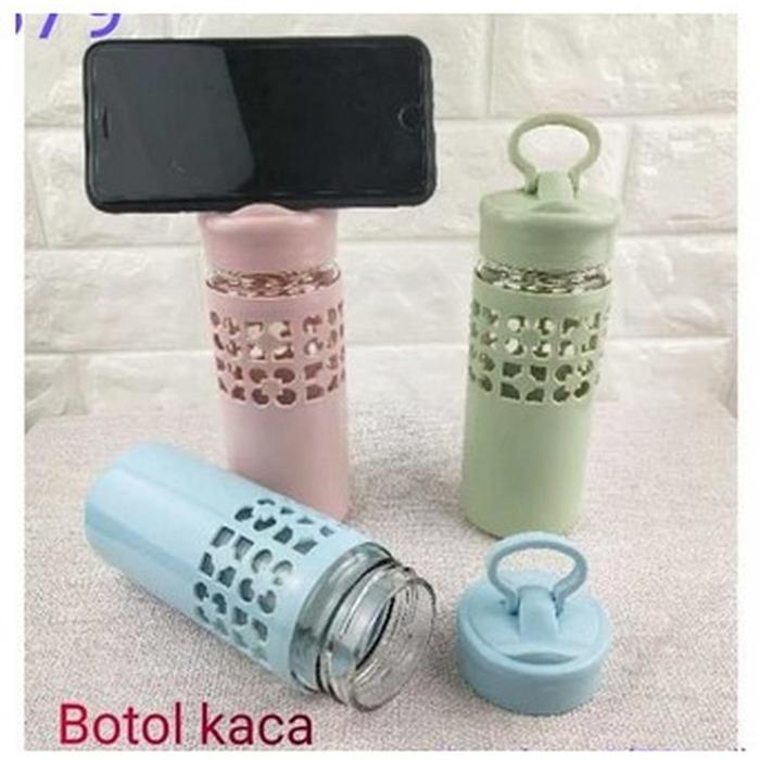 Botol Minum Kaca New Model i-ring handpone / Botol Kaca Tali Drink Water 500Ml [450GR] F297