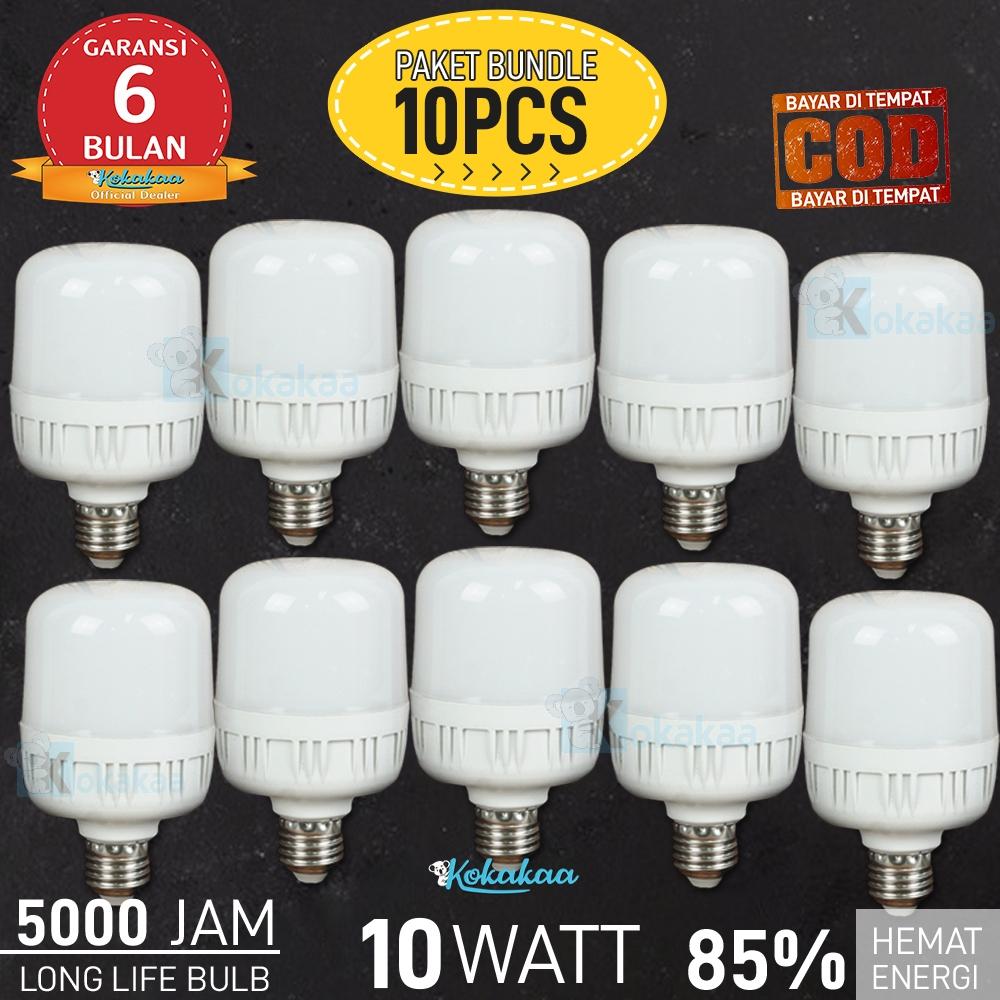 PAKET 10 PCS Bohlam LED SUNSONIC 10 Watt GARANSI 6 BULAN Cool White Lampu Hemat Energi Cahaya Lampu 350 Lumen Umur 5000 Jam Led Bulb - Putih