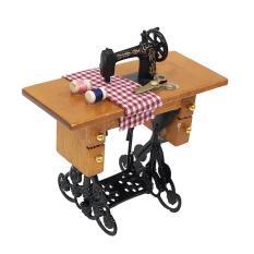 Máy May Mini Có Chỉ Bằng Gỗ 1/12 Dollhouse Đồ Nội Thất Thu Nhỏ