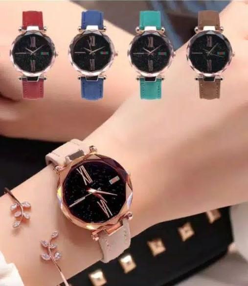 jaya shop jam tangan wanita kaca crystal quartz tali kulit  BISA BAYAR DITEMPAT (COD)- fashion wanita-jam tangan korea-jam tangan model terbaru