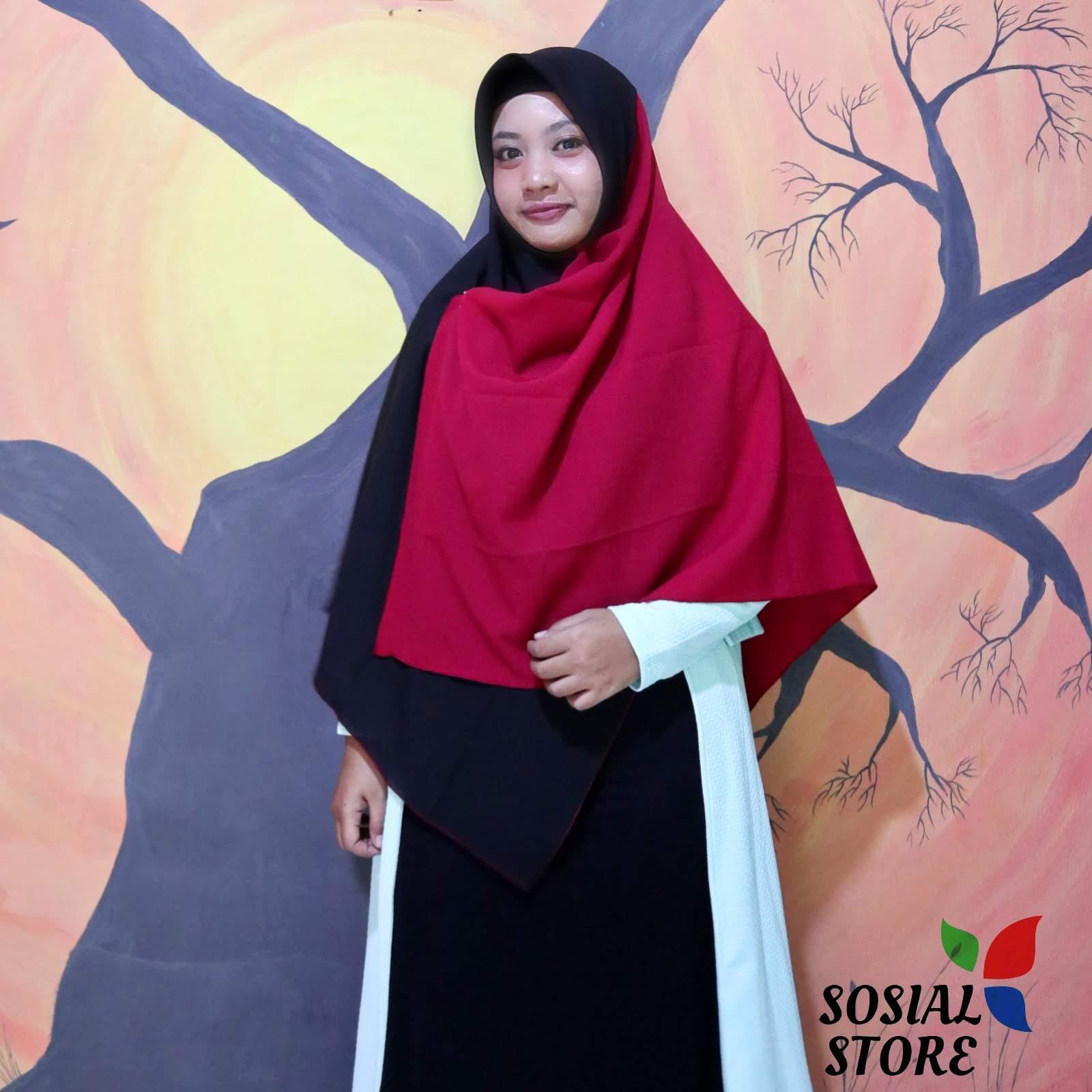 Khimar 2 TONE Hijab Kombinasi Segi Empat Jumbo Syari jilbab Model Sekarang Diamond Crepe