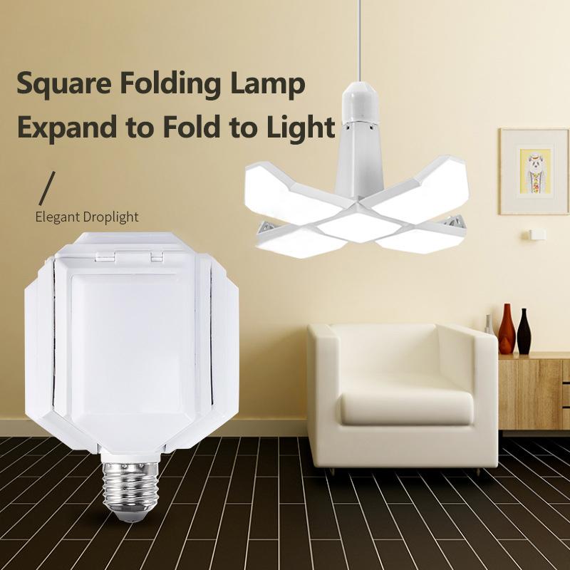 【Cantaloupeyhd】 Dipimpin Lampu Lipat Empat Daun Deformasi Lampu Garasi Pencahayaan 40W untuk Rumah Gudang Lokakarya