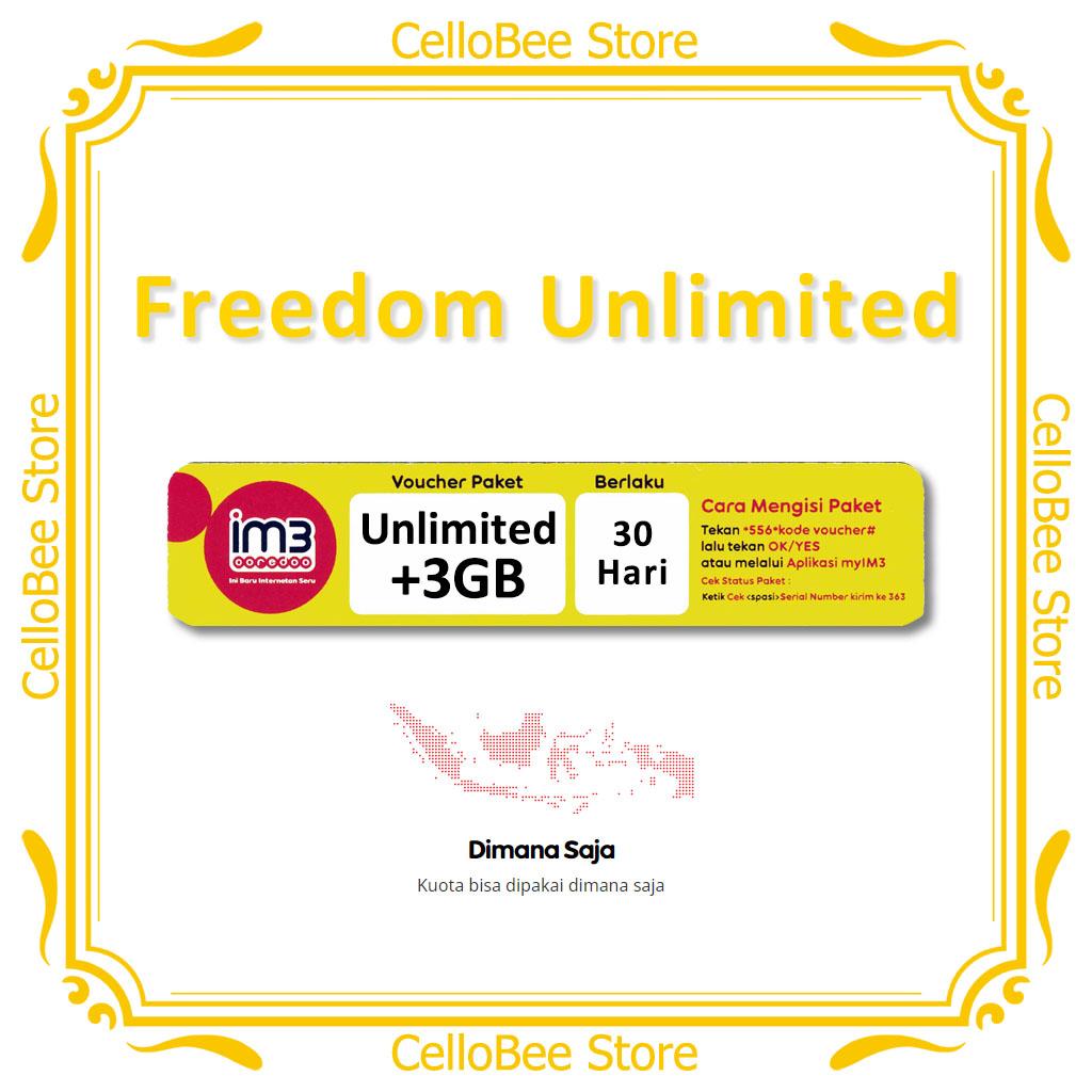 Im3 Ooredoo Voucher Data Freedom Unlimited 3gb Masa Aktif 30 Hari Indosat Lazada Indonesia