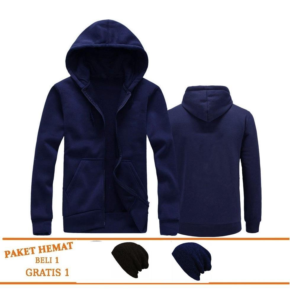 Raja Clothing - Jaket Pria Sweater Polos Hoodie Zipper Sleting Best Seller Gratis 1 Topi Kupluk By Raja Clothing.
