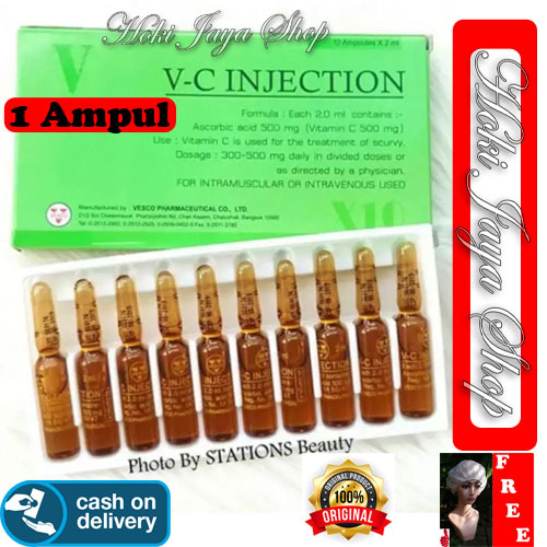 HOKI COD - VC Injection Isi 1 AMPUL - / Vitamin C Injection / VC Injeksi / Serum Vitamin C Ascorib Acid 100% Original Thailand - GM 1 + Gratis Shower Cap Putih - Premium
