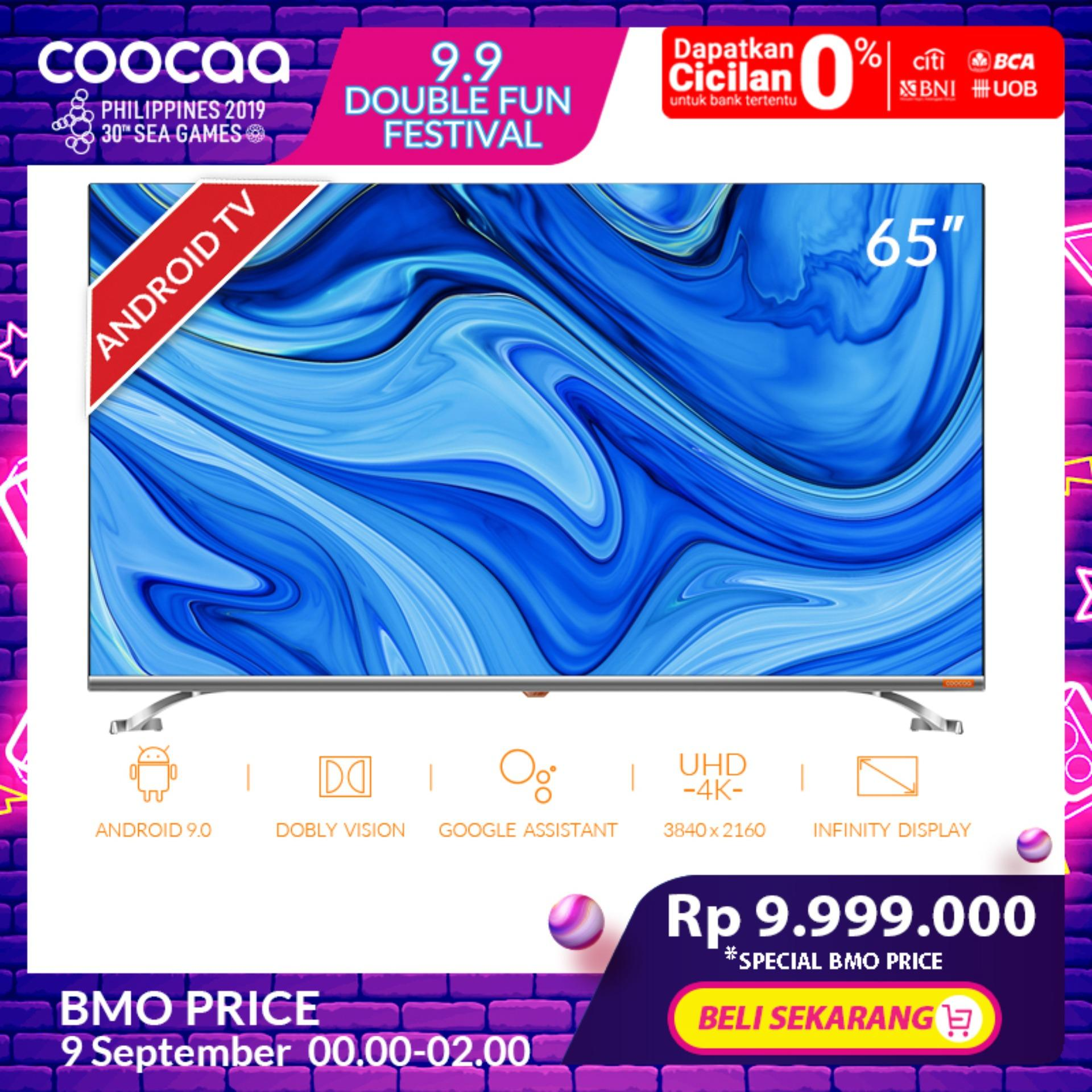 COOCAA 65 inch 4K Android 9.0 Smart LED TV- Infinity View- Dolby Vision- Ultra HD- Silm-Wifi (Model 65S6G)