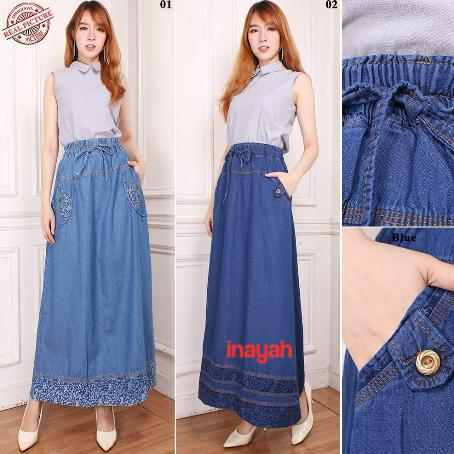 Rok jeans maxi payung panjang wanita jumbo long skirt Naura