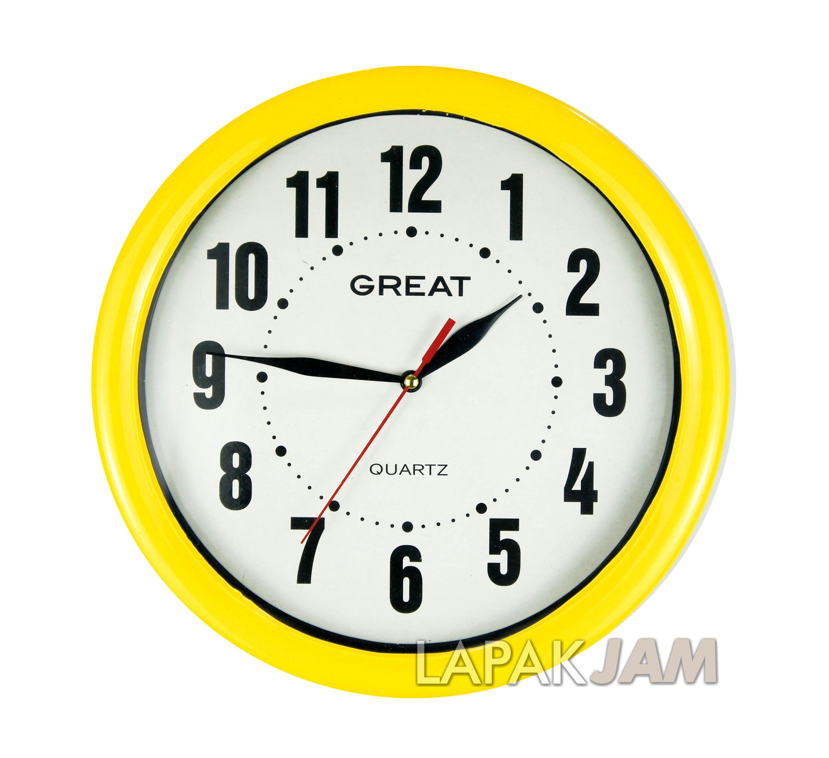 Jam Dinding Great 777 Warna Putih Hitam Merah Biru Kuning Hijau Diameter 28 Cm Best Seller By Lapakjam.