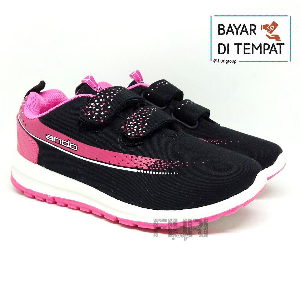 FIURI - Ando Original - Adelline Velcro Kids Black Pink - Sepatu Olahraga  Anak Perempuan - 3107925ae9