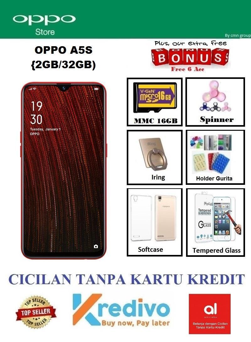 Oppo A5S Ram 2GB/32GB - Cicilan Tanpa Kartu Kredit + Paket 6 Items (Fingerprint Oppo Termurah, Garansi Resmi)