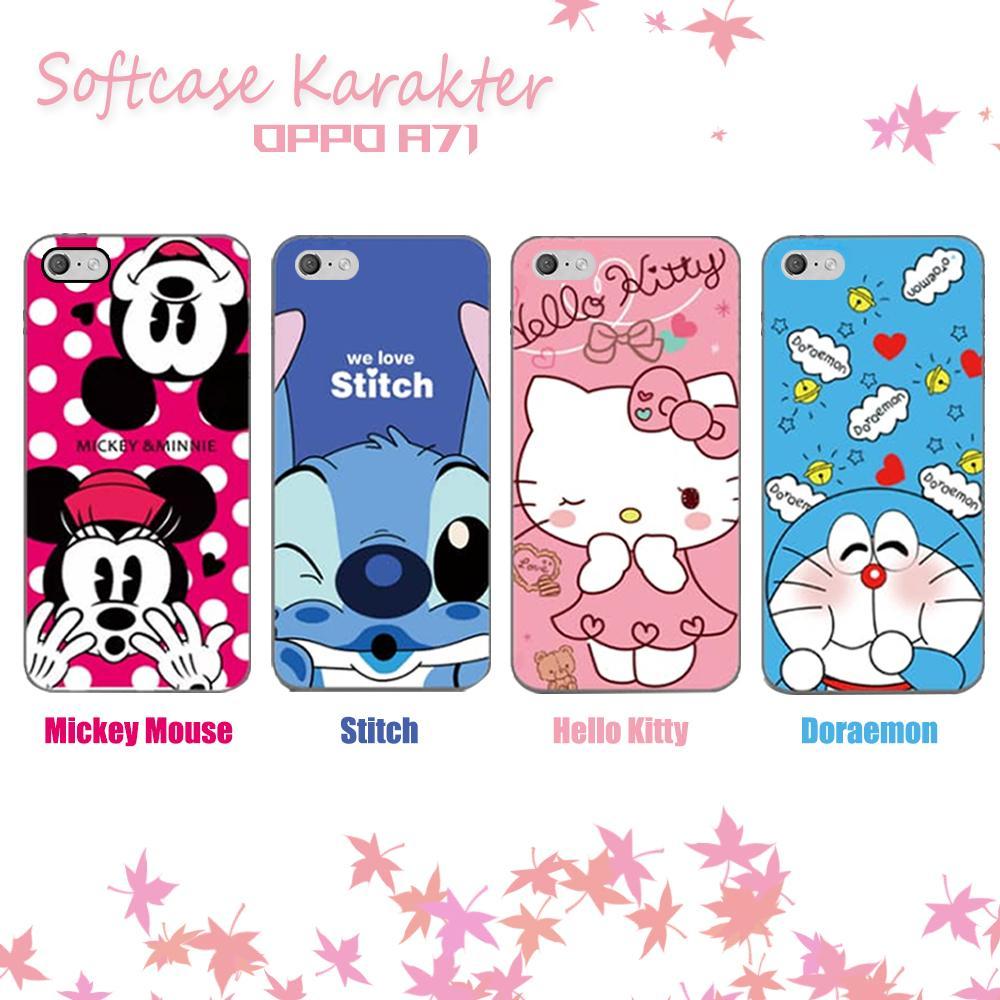 3D Case Oppo A71 ( 5.2 inch ) Softcase Karakter Hello Kitty Doraemon Stitch Mickey Mouse Character Disney Cartoon