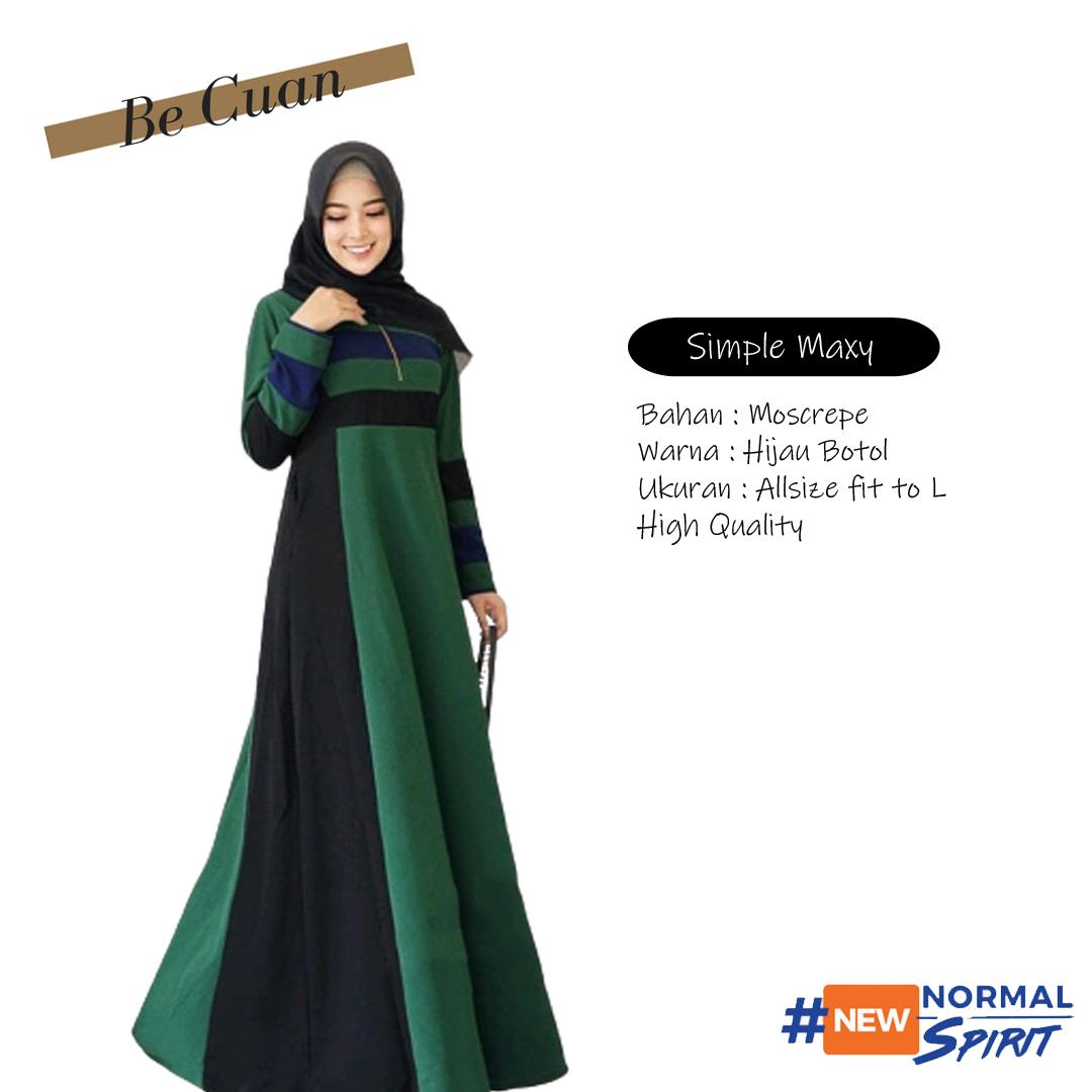 Baju Muslimah Simple Maxi Dress / Baju renda gamis muslimah / Long dress  hijab style / Gamis lengan serut terbaru / Gaun pesta long dress muslim