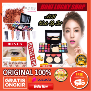 LUCKY COD - ADS Make Up Set Pallete Pinky Momo Lengkap 1 Pack Bisa COD Bayar di Tempat Eyeshadow Makeup Pallate Make-Up Kit Lengkap Komplit Lipstik Bedak Powder Fashion Colours 42 warna +++BONUS CETAKAN ALIS CYANTIK 1 PCS thumbnail