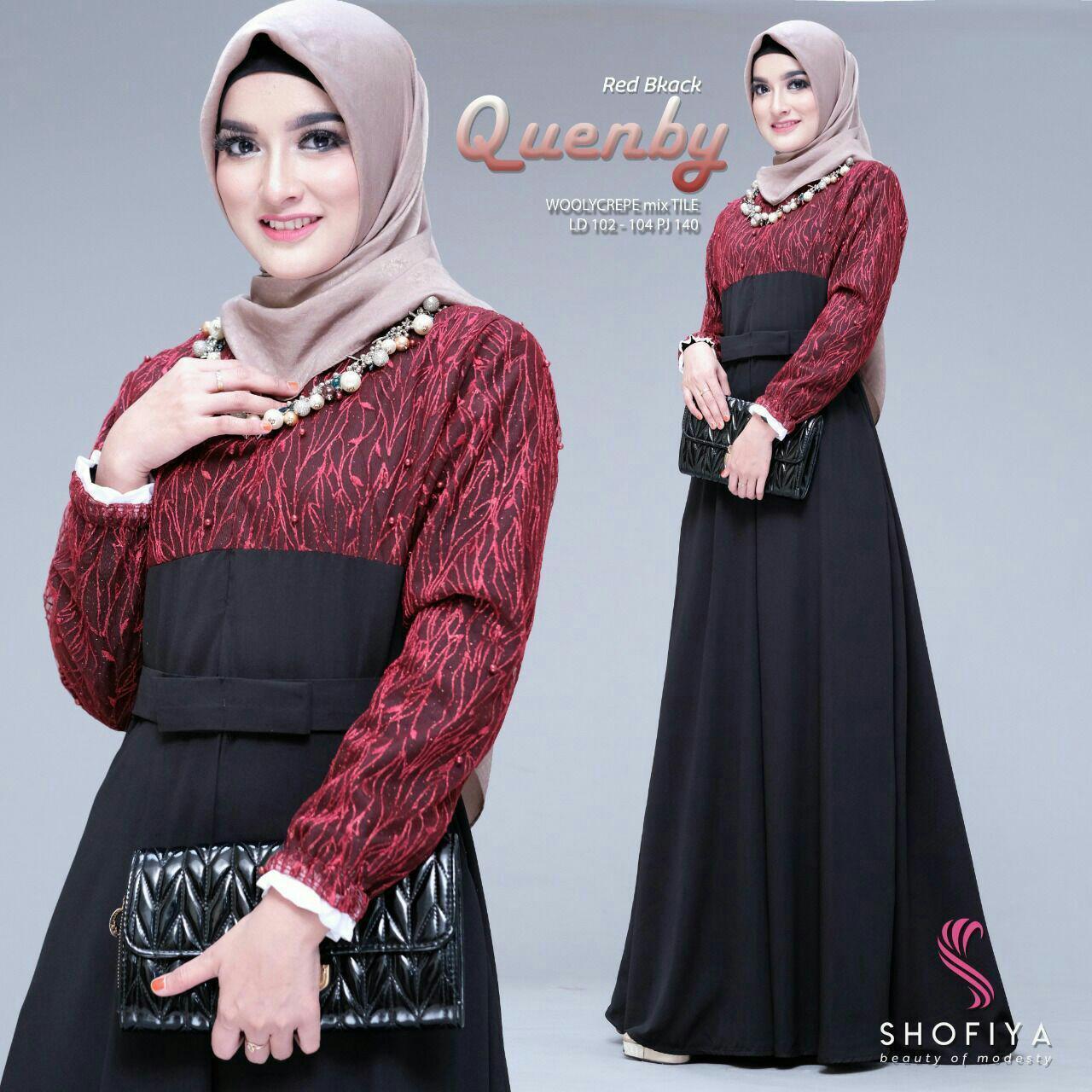 Gamis Brokat Tille Wollycrepe Baju Pesta Brokat Busui Maxi Dress Premium Quenby Lazada Indonesia