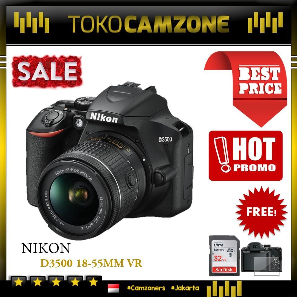 Kamera Nikon D3500 Kit 18-55mm DSLR Camera - Garansi Distributor 1 Tahun - Free Screen + Memory SDHC 32GB
