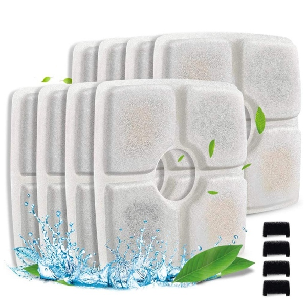 Pet Fountain Filter Set for 84Oz / 2.5L Automatic Pet Fountain Filter System with Filter Sponge