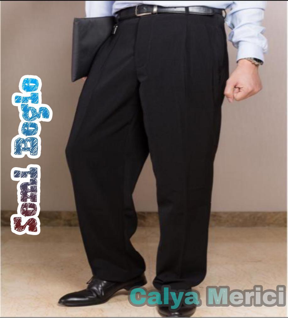 Calya Merici Celana Panjang Formal Pria Semi biggy Jumbo Hitam Bahan Twist  27-40 bc1917c1ed