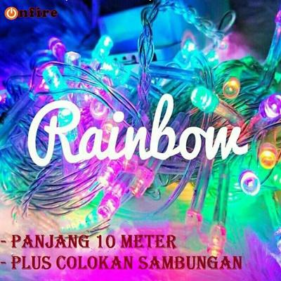 ONFIRE Lampu Tumblr RGB Rainbow 100 Lampu Warna Warni 10 Meter - Lampu Tidur Lampu Tumblr Beras Rainbow 100 Lampu Warna Warni - Panjang 10 Meter Packing BOX