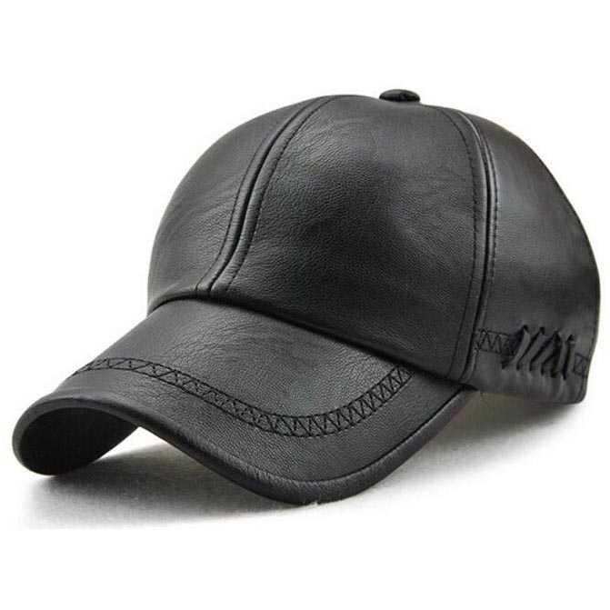 Topi Baseball Aksen Kulit Faux Leather Caps Outdoor Snapback Sport Cap Casual Hat Aksesoris Pria Wanita Men Women Fashion Accessories Pelindung Tudung Tutup Penutup Kepala Anti Panas Head Protector Jalan Hangout Travel Olahraga Sporty Cool S0603 - Black By Topaten.