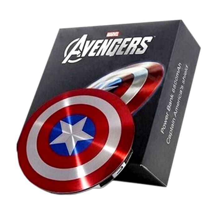 REYNAND'- PowerBank Captain America 6800mAh 2 Port Bentuk Tameng Perisai