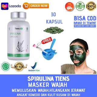 MASKER SPIRULINA TIENS Paket 30 Kapsul free + Kuas dan mangkok masker Masker Herbal Alami Tiens masker wajah ampuh PROMO sahabat tiens 4,.4 thumbnail
