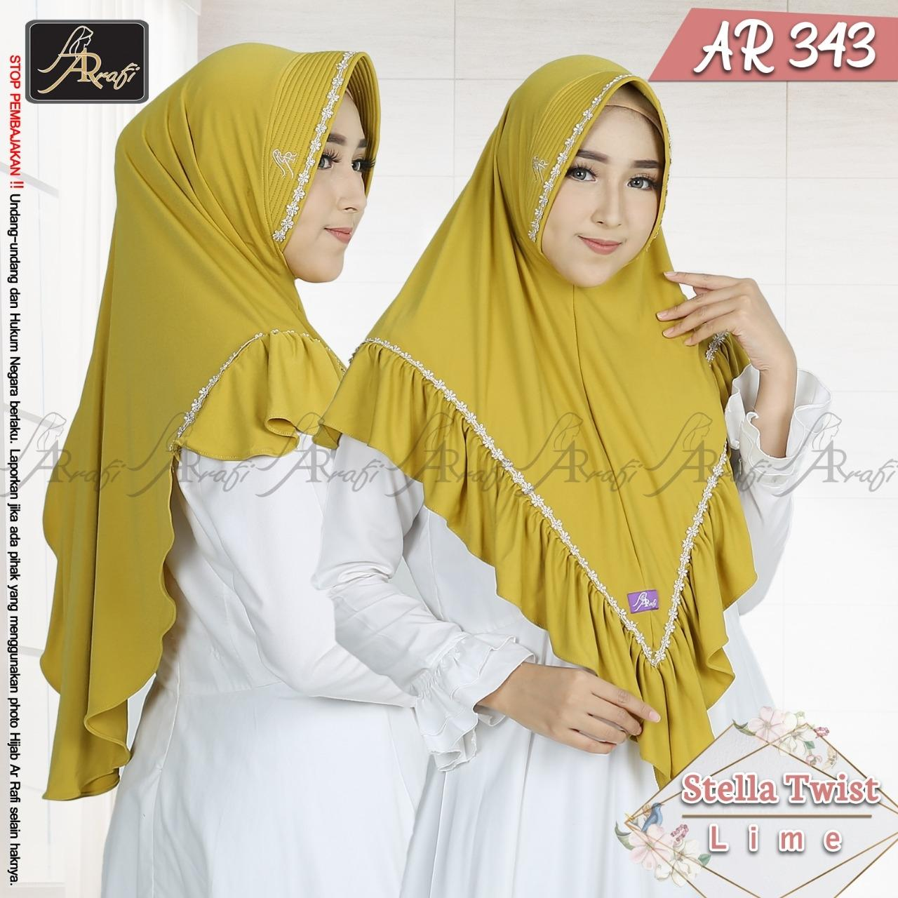 Hijab Arrafi AR 343 Lime Jilbab Instan Ar Rafi Bergo Kerudung Khimar