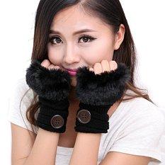Elegan Soft Hand Warmer Rajutan Sarung Faux Bulu Tombol Musim Dingin Hangat Palm Sarung Tangan untuk Wanita (Hitam)