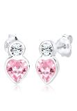 Harga Elli 925 Silver Anting Heart Swarovski Elements Rose Rose Online