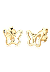 Elli 925 Silver Anting Lapis Emas 24K Butterfly Emas