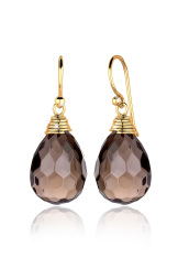 Elli 925 Silver Anting Lapis Emas 24K Drop Smokey Quartz Cokelat