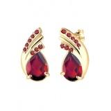 Beli Elli Germany 925 Silver Anting Lapis Emas 24K Fashion Garnet Red Merah Tua Online Indonesia
