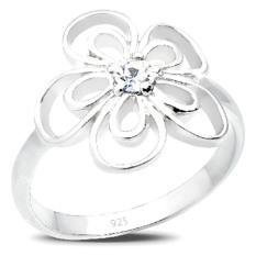 Toko Elli Germany 925 Silver Cincin Flower Swarovski Elements Putih Size 52Mm Murah Di Bali
