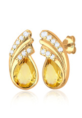 Elli Germany 925 Sterling Silver Anting Fashion Lapis Emas 24K Citrine Yellow Kuning