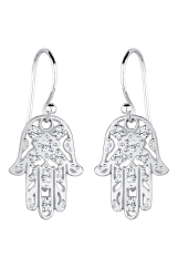 Elli Germany  925 Sterling Silver Anting Hamsa Hand Swarovski Crystals Putih