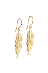 Elli Germany  925 Sterling Silver Anting Lapis Emas 24K Feather Emas