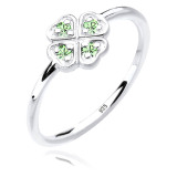 Toko Elli Germany 925 Sterling Silver Cincin Clover Leaf Swarovski Crystals Green Hijau Muda Size 58Mm Elli Germany
