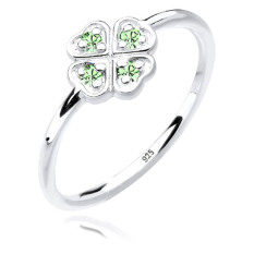 Jual Elli Germany 925 Sterling Silver Cincin Clover Leaf Swarovski Crystals Green Hijau Muda Size 58Mm Grosir
