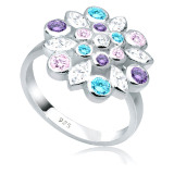 Jual Elli Germany 925 Sterling Silver Cincin Colorful Flower Zirconia Warna Warni Size 54Mm Grosir