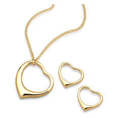 Harga Elli Germany 925 Sterling Silver Set Kalung Anting Lapis Emas 24K Heart Emas Elli Germany