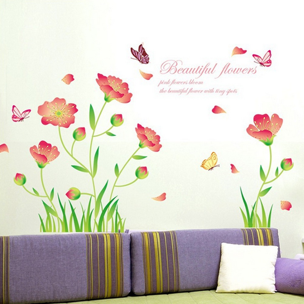 Bahasa Inggris Letter Indah Flowers Butterflies Wall Decal Home Sticker PVC Mural Vinyl Kertas Rumah Dekorasi Wallpaper Ruang Tamu Kamar Tidur Dapur Gambar Seni DIY untuk Anak Remaja Remaja Dewasa Pembibitan Bayi-Intl