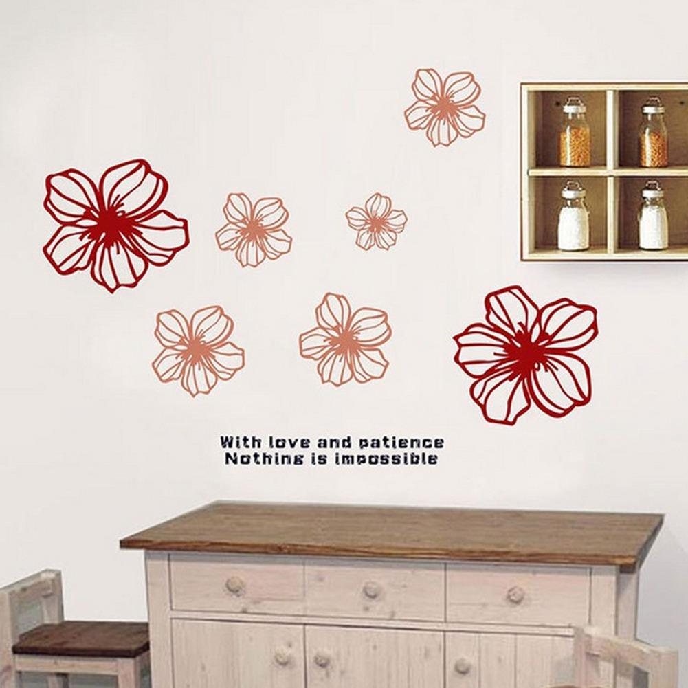 Bahasa Inggris Huruf Brown Flowers Wall Decal Home Sticker PVC Mural Vinyl Kertas Rumah Dekorasi Wallpaper Ruang Tamu Kamar Tidur Dapur Art Gambar DIY untuk Anak Remaja Remaja Dewasa Anak-Intl