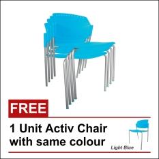 Ergosit Kursi Tumpuk Active 4 unit Free 1 unit - Light Blue - Khusus Jakarta